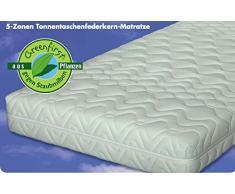 Malie Polar, 5-Zonen-Tonnen-Taschenfederkern Matratze, Greenfirst Bezug gegen Milben - Grösse 100x200 - Härtegrad H2