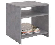 CARO-Möbel Nachttisch ALMERIA Nachtschrank Beistelltisch in Betonoptik mit 2 offenen Fächern