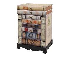 ts-ideen Design Kommode Bücherregal Schrank im Vintage Antik Buch Look Nachttisch mit Schubladen