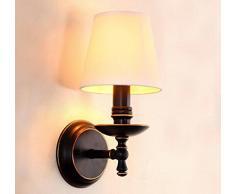 Der Ehemalige Amerikanische Land Schmiedeeisernem Bett Schlafzimmerspiegel LED-Wand Salon Single-Aisle-Kopf Retro-Wandleuchten 6in * 12in,White