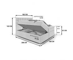 Moebella Boxspringbett mit Bettkasten H3 Webstoff Grau XXL Stauraum Chester Topper Taschenfederkernmatratze Knopfheftung (180 x 200 cm)