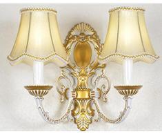 Der Ehemalige Amerikanische Land Schmiedeeisernem Bett Schlafzimmerspiegel LED-Wand Salon Vintage-Wandleuchte Gang 10in * 5.5in * 13in,Platinum-Double