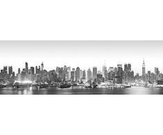 Beauty.Scouts Wandspiegel New York, Spiegel, Digitaldruck, Skyline Design, schwarz, grau, weiss, Schlafzimmer, Wohnzimmer, Jugendzimmer, Flur, Diele, mit Aufhänger, 50x140cm