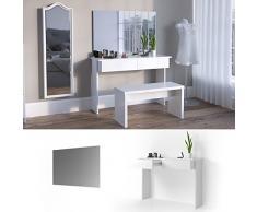 Schminktisch Azur mit Spiegel Weiß Hochglanz Kosmetiktisch Frisierkommode Frisiertisch (Schminktisch + Spiegel)