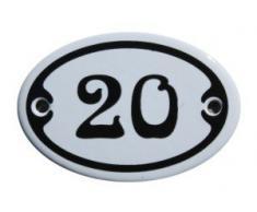 Nummer 20 mini Emaille Schild Jugendstil ca. 4,2 x 6,2 cm Türschild Zimmer Schublade Schrank Kommode Emailschild oval weiß