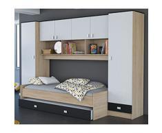 Schrankbett inkl Bettkasten grau / weiß / schwarz B 308 cm Jugendbett Wandbett Schrank Gästebett Jugendzimmer Kinderzimmer Gäste