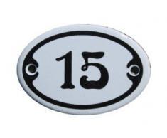 Nummer 15 mini Emaille Schild Jugendstil ca. 4,2 x 6,2 cm Türschild Zimmer Schublade Schrank Kommode Emailschild oval weiß