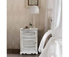 Rebecca Mobili Nachttisch Schrank weißen Holz Rebecca MITTELMEER 1 Tür Shabby Vintage Landhausstil - 59 x 41,5 x 32 cm (H x B x T) - Art. RE4343
