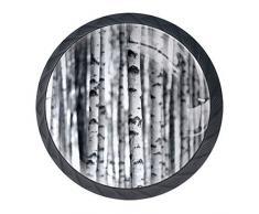 Schublade zieht Griffknöpfe Baum Birke Wald Kleiderschrank mit Schrauben rund für Wohnaccessoires 4er-Set