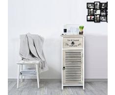 Rebecca Mobili Badschrank, Kommode für Schlafzimmer, 1 Tür 1 Schublade, Weiß Beige, Vintage-Stil, Bad Schlafzimmer - Maße: 75 x 32 x 26 cm (HxLxB) - Art. RE4594