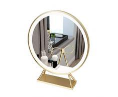 N /A QJYNS Beleuchteter Schminkspiegel mit hochauflösendem Glas Desktop Studentenschlafzimmer Schlafzimmerspiegel Geeignet für eine Vielzahl von Anwendungen