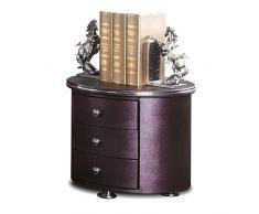 XJZxX Leder Kunst Nachttisch Schlafzimmer Massivholz DREI Schubladen Nachttisch Schrank Europäischen Seitenschrank (Color : Dark Purple)