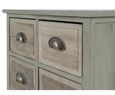 ts-ideen Landhaus Kommode Schubladenschrank Holz im grünen Shabby Look Schrank mit 8 Schubladen