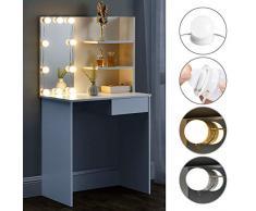 ArtLife Schminktisch Jenna mit LED Beleuchtung, Spiegel, Schublade & Fächer | weiß | modern | Holz | Frisiertisch Kosmetiktisch Kommode