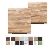 Nachtschrank NIGO auch für Boxspringbett geeignet ( Höhe 58 cm ), Nachtkommode, Holz (MDF) oder Glas, BxHxT: 52 x 58 x 38 cm, 3 Schubladen, Made in Germany, Plankeneiche 2 Stück
