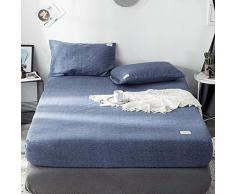 GUANLIDE spannbettlaken Doppelpack,Spannbetttücher, flaches Stück Baumwolle, Matratzenbezug für Schlafzimmertextilien vertiefenNavy Blue_180 * 200cm