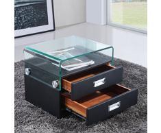 i-flair® - Nachttisch, Nachtkonsole aus hochwertigem Kunstleder - S69 Schwarz