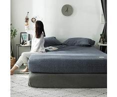 GUANLIDE Spannbetttuch Spannbettlaken,Spannbetttücher, flaches Stück Baumwolle, Matratzenbezug für Schlafzimmertextilien vertiefenDunkelgrau_150 * 200cm