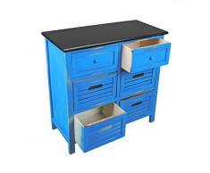 ts-ideen Landhaus Kommode Flur Bad Schrank Shabby Used Optik in blau schwarz mit 6 Schubladen