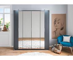 lifestyle4living Kleiderschrank in Aluminium-Nachbildung | Drehtürenschrank mit Absetzungen in Graphit, 4-türig, Falttürenschrank mit Spiegeltür ca. 183 cm