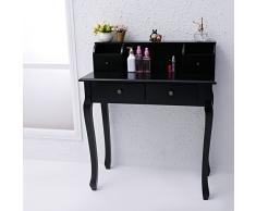 CCLIFE Schminktisch Frisierkommode Frisiertisch Kosmetiktisch schminkkommode schlafzimmerkommode, Farbe:Schwarz