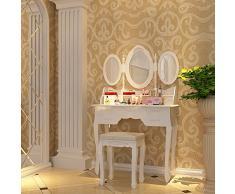 Weiß Luxuriös Schminktisch 7 Schubladen mit 3 Spiegels Blumendekoration Frisierkommode RDT91W