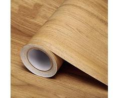 Selbstklebende Folie Holzmaserung Tapete dick PVC selbstklebende Tapete Retro 3d Wandaufkleber wasserdichte Kleiderschrank Tischmöbel (Birke) 60 x 1000 cm
