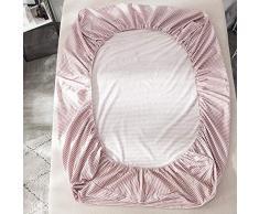 GUANLIDE Spannbetttuch Baumwoll,Spannbetttücher, flaches Stück Baumwolle, Matratzenbezug für Schlafzimmertextilien vertiefenRosa Streifen_135 * 200cm