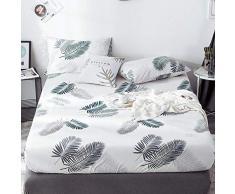 GUANLIDE Laken,Spannbetttücher, flaches Stück Baumwolle, Matratzenbezug für Schlafzimmertextilien vertiefenWeiße Blätter_100 * 200cm