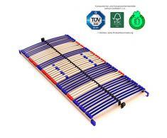 stabiler Lattenrahmen 100% BUCHE - nicht verstellbar, starr - SCHULTERFRÄSUNG, 7 Zonen, 42 Federleisten, Härte-Regulierung, Mittelgurt, SCHLUMMERPARADIES - SLEEP BEST 42 FIX unmontiert ( 70x200 cm )