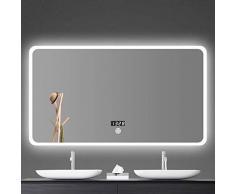 Moolo Schminkspiegel LED Badezimmer Wandspiegel, Anti-Fogging Und Bluetooth Beleuchteter Schlafzimmerspiegel Mit Touch-Schalter 5mm Explosionsgeschützter Spiegel (Size : 60CMx80CM)