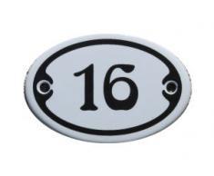 Nummer 16 mini Emaille Schild Jugendstil ca. 4,2 x 6,2 cm Türschild Zimmer Schublade Schrank Kommode Emailschild oval weiß