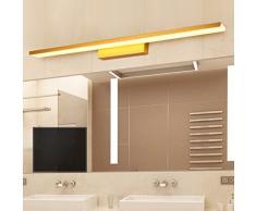 FLYSXP Einfache Spiegelleuchte, Antibeschlag-Badlinsenleuchte, Schlafzimmerspiegel-Schrankleuchte, Acrylwaschanlage, Badezimmerwaschleuchte, Aluminium-Lampenkörper (Gold) Spiegelscheinwerfer