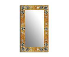Einzigartiger Spiegel mit einem 3D-Rahmen 100 x 70cm 70 x 100cm Spiegel mit handgearbeiteten Dekorrahmen Flurspiegel Schlafzimmerspiegel Küchenspiegel Stabiler Rückwand, Rahmenleiste: 100 mm breit und 20 mm hoch, Rahmen Model: Goldene Orchideenblüten