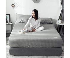 GUANLIDE spannbettlaken matratzenschoner,Spannbetttücher, flaches Stück Baumwolle, Matratzenschoner für Schlafzimmertextilien hellgrau_150 * 200cm