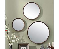 YYHSND Hängender Spiegel hölzerner Schlafzimmerspiegel Badezimmerspiegel, der runden Spiegel der Wand kleidet Wandspiegel (größe : S)