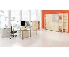 Geramöbel Anstell-Schiebetürenschrank Oberboden 25 mm, mit Stellfüßen, abschließbar, 1200x425x720, Ahorn/Ahorn