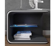 SalesFever Nacht-Tisch mit LED-Beleuchtung und Kunstleder-Bezug in schwarz 50x40cm | Tiris | Design Beistell-Tisch mit Ablage | Stylische Nachtkommode für Ihr modernes Schlafzimmer | mit Glas-Einsatz