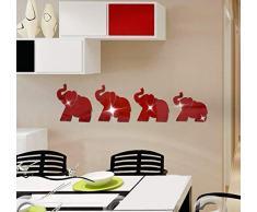 JWQT Wandtattoos Baby-Elefantschlafzimmer der Acrylkarikatur 3D, Schlafzimmerspiegel, dreidimensionale Wandaufkleber, Kinderzimmerflurdekoration, wasserdichte Aufkleber, Silberne Karikatur mögen Spi
