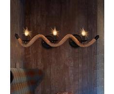 Antiker Art Torsionswellen-Seilwandlampe der antiken Wellenseil-Wandlampe Retro Industrielle Hanf Seil Wandleuchte Kreative Nachttisch Wandlampe Wand Lichtleisten Schmiedeeisen Wand Lampe