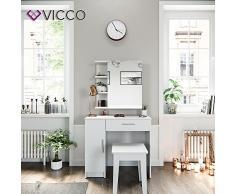 VICCO Schminktisch Fynnia Weiß Kosmetiktisch Frisierkommode Frisiertisch Spiegel +++ MIT AUFKLAPPBAREN SPIEGELSCHRANK +++