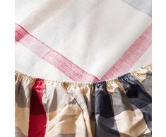 GUANLIDE spannbettlaken für Topper,Spannbetttücher, flaches Stück Baumwolle, Matratzenbezug für Schlafzimmertextilien vertiefenKhaki Lattice_135 * 200cm