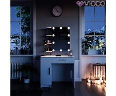 Vicco Schminktisch Fynnia Weiß mit LED Kosmetiktisch Frisierkommode Frisiertisch Spiegel +++ MIT AUFKLAPPBAREN SPIEGELSCHRANK +++