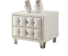 HYL Nachtkommode Leder Nachttisch Weiß Nachttisch Schlafzimmer Schubladenschrank