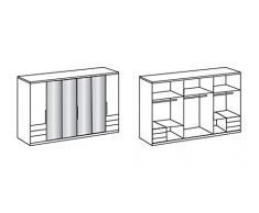 lifestyle4living Kleiderschrank in weiß, moderner Schrank mit 2 Falttüren und 2 Drehtüren, ausgestattet mit 4 Spiegelflächen und 6 Schubladen
