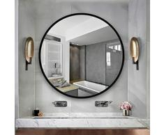 Meng Wei Shop Spiegel Runder Spiegel Badezimmerspiegel Schminkspiegel Schlafzimmerspiegel Spiegel zur Wandmontage Rahmen aus Massivem Holz (Color : Black, Size : Diameter 70cm (27 inches))