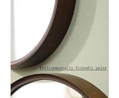 WSWJJXB Hölzerner Schlafzimmerspiegel Amerikanischer Badezimmerspiegel, der Wandverfassungs-runden Spiegel hängenden dekorativen Spiegel des Spiegels ankleidet (größe : 36cm)