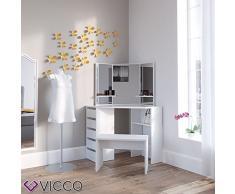 Vicco Eckschminktisch Arielle - Schminktisch Kosmetiktisch Frisierkommode Frisiertisch Schminkspiegel (weiß)