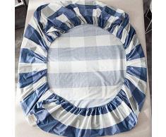 GUANLIDE Laken Baumwolle,Spannbetttücher, flaches Stück Baumwolle, Matratzenschoner für Schlafzimmertextilien vertiefenBlau Plaid_100 * 200cm