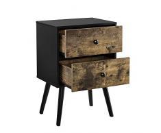 [en.casa] Beistelltisch mit Schubladen Vintage Kommode Nachttisch 60 x 40 x 29,5 cm Nachtschrank Retro Nachtkommode Ablage Holz